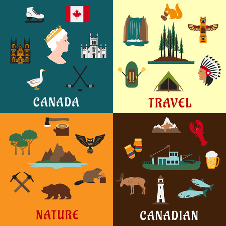 waterfall: Canadian travel symbols and nature landmarks with national flag, fishing and timber industry, hockey, forest, waterfall, mountains, aboriginal culture, animals and bird flat icons Illustration