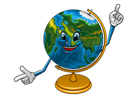 planet earth: Desk globe cartoon character with yellow stand and happy smiling face, for education or school design