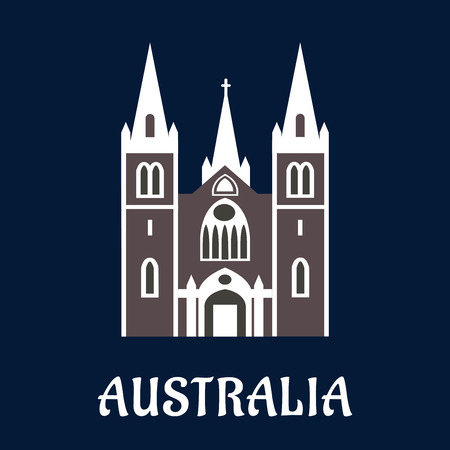 church window: Australian landmark concept in flat style with anglican cathedral church in gothic style with arched windows and high spires