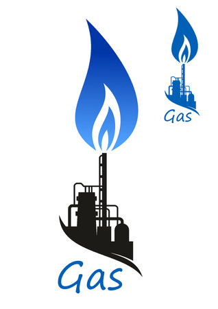 flames background: Blue flame of natural gas over flare stack and storage tanks of refinery or petrochemical factory