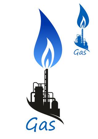 Llama azul del gas natural sobre Quemador de gas residual y almacenamiento tanques de refinería o petroquímica fábrica Ilustración de vector