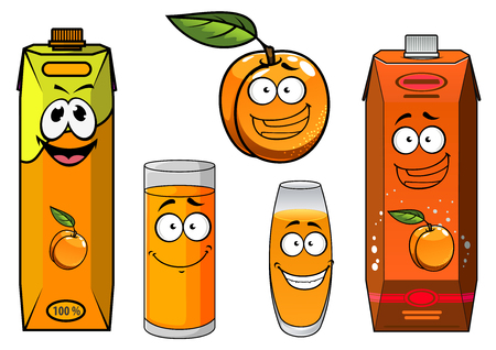 fruit juice: Funny cartoon apricot fruit with bright juice packs and filled glasses, with happy smiling faces. For food pack design
