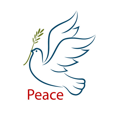 Flying dove with olive branch as a abstract symbol of peace and unity. Isolated on white background, for religion or freedom concept design Illustration