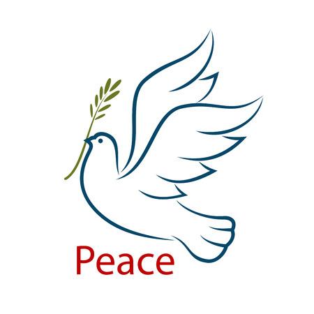 Vliegende duif met olijftak als een abstract symbool van vrede en eenheid. Geïsoleerd op een witte achtergrond, voor godsdienst of vrijheid concept ontwerp