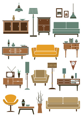 home furniture: Flat home interior furniture and accessories icons with modern couches and armchairs, chest of drawers with tv and vases, coffee table, pendant and floor lamps