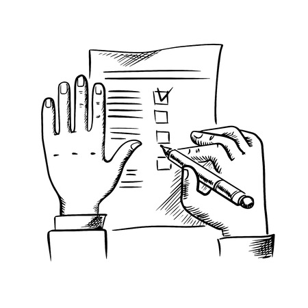filling: Businessman filling checklist or to do list with pen, sketch style
