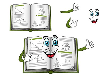 Happy geometry textbook cartoon character with green cover shows thumb up, for education design Illustration