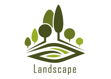 風景: 怪しげな路地、整えられた木と自然、景観設計のための腎臓形芝生夏公園抽象的なアイコン