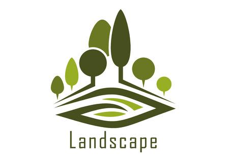 風景: 夏季公園黑幕小巷抽象的圖標,修剪樹木和腎狀草坪,自然或景觀設計