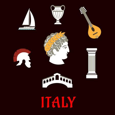 cultura italiana: Cultura e viaggio icone piane italiani con Cesare a corona, casco romano, Venezia Ponte, antico vaso, mandolino, colonna dorica e barca a vela