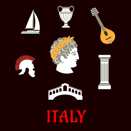 italian culture: Italian culture and travel flat icons with Caesar in wreath, roman helmet, venice bridge, ancient vase, mandolin, doric column and sailboat