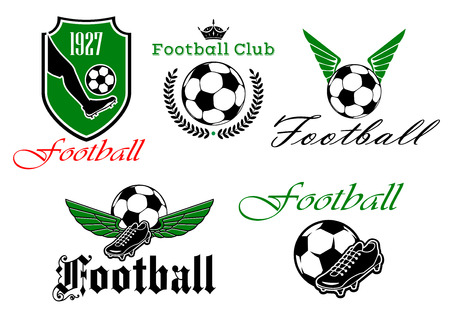 football ball: Football or soccer club icons with heraldic shield, foot kicking a ball and date foundation, crowned ball with laurel wreath, winged ball and shoes