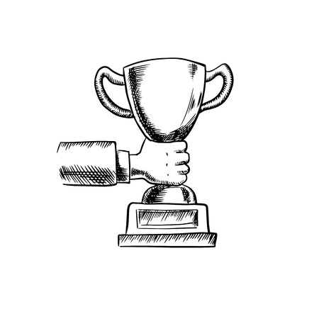at first: Sketch of businessman hand holding trophy cup or award, for success concept design. Isolated on white background