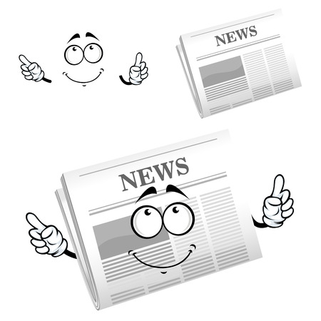 weekly: Cartoon weekly newspaper character with big gray header News, for media or advertisement design