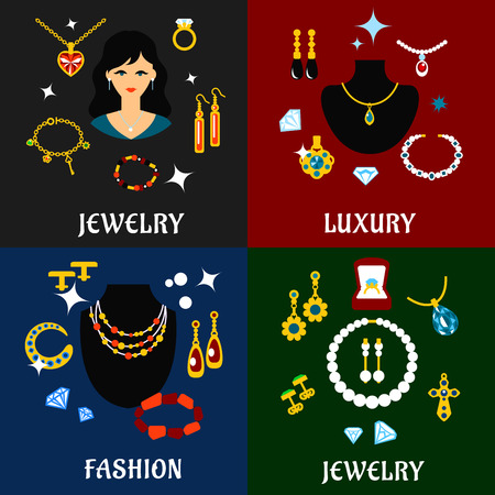 Fashion luxury jewelry flat icons with precious necklace, bracelets, chains, earrings, pendants, rings and cufflinks Illustration