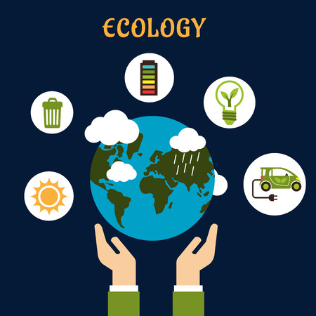 hands holding earth: Ecology concept in flat style with hands holding Earth planet and round white icons of sun, garbage recycling, battery indicator, green energy and electric car