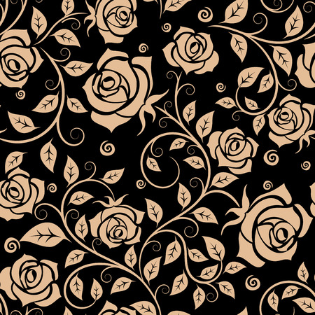 curlicues: Brown roses floral seamless pattern with elegant flowers on twisted leafy stems adorned by curlicues on black background. Retro style