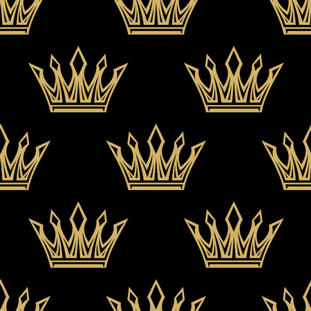 diamante negro: Medievales coronas de oro con diamantes reales patrón transparente sobre fondo negro, de lujo o diseño textil