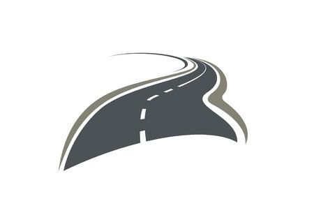 Asfalt slingerende weg verdwijnen achter de horizon op een witte achtergrond. Voor reizen of vervoer ontwerp
