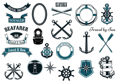 nautical vessel: Nautical and marine design elements for heraldry with anchors, helm, compass, lighthouse, spyglass, lifebuoy, paddles, diving helmet, captain cap, shield and rope frames, ribbon banners