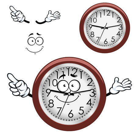 the white wall: Cartoon round wall clock character with white dial, brown rim and funny smile