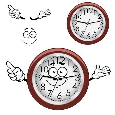 orologio da parete: Personaggio dei cartoni animati orologio da parete rotondo con quadrante bianco, bordo marrone e divertente sorriso Vettoriali