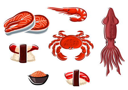russian cuisine: Fresh salmon steaks, crab, squid, shrimp and cooked salted red caviar, nigiri sushi with surf clam and tuna, for seafood menu design