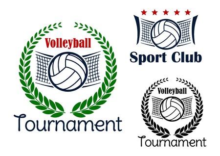 Voleibol del club y del torneo emblemas con pelotas de voleibol, red y corona de laurel verde Foto de archivo - 43384869