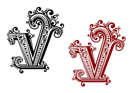 Decoratieve hoofdletter V met vintage kalligrafische elementen en florale sier tierelantijntjes, in rode en zwarte kleur variaties. Voor monogram of initialen ontwerp
