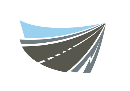 highway icon: Speed highway road abstract emblem or icon with gray roadsides and blue sky. Isolated on white background for transportation or travel design