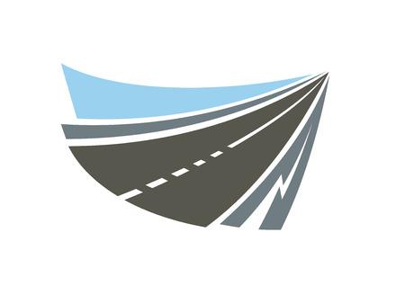 transportation: Vitesse autoroute route emblème abstraite ou l'icône avec le bord des routes grises et le ciel bleu. Isolé sur fond blanc pour la conception de transport ou Voyage