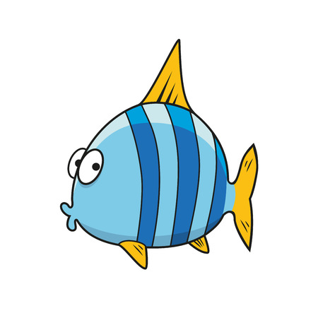 Funny tropical fish cartoon character with bright blue striped body, yellow fins and tail