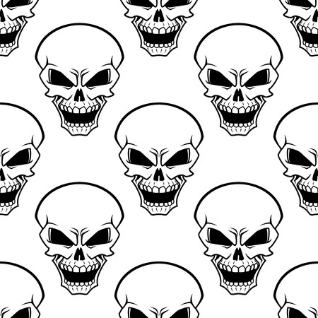 grimaces: Evil human skulls seamless pattern with aggressive grimaces on white background, for halloween design
