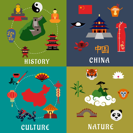 culture: China history, culture and nature flat icons with flag and map, temples, Great Wall, chinese cuisine and tea ceremony, dragon, fan, lantern, calligraphy, animals, lotus and bamboo