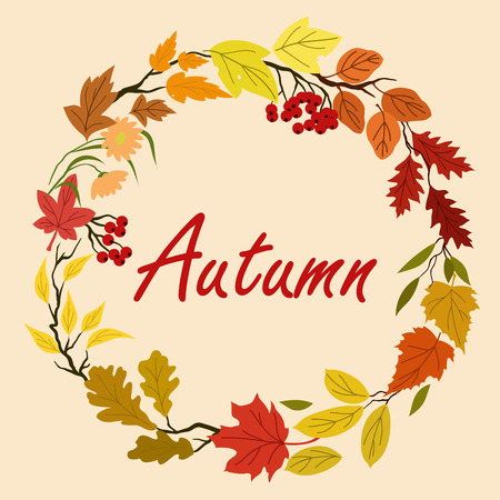 tree leaves: Autumn leaves and flowers wreath with colorful tree leaves, herbs, flourishes and viburnum fruits on background