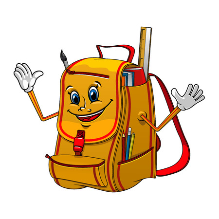 Friendly yellow school backpack cartoon character with books, ruler, pencils and paint brush. For back to school or education concept design Illustration