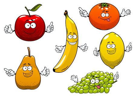 limon caricatura: Divertidos maduras de dibujos animados de manzana roja, pera, plátano, naranja, uva verde y limón frutas caracteres para postre o el diseño de la agricultura Vectores