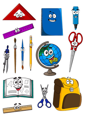 college classroom: Happy cartoon school backpack, textbook, notebook, scissors, globe, rulers, triangle, highlighter, pencil, compasses, paintbrushes for education or back to school concept design