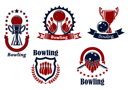 lanes: Bowling competition icons with balls, ninepins and trophy cups on lanes adorned by stars, ribbon banners and heraldic shield laurel wreath
