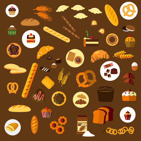 pan frances: Panader�a, pasteler�a y confiter�a iconos planos con diferentes panes, croissants, galletas, donas, pasteles, galletas, magdalenas, dulces y panecillos