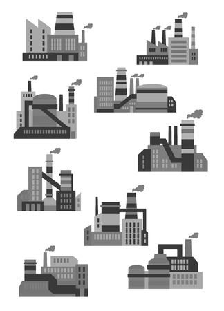 factory: Flat industrial plants and factories icons design with buildings, machinery and smoking chimneys