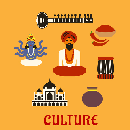 lotus pose: Indian culture flat icons with sitar, fresh chili pepper and chili powder, tabla drum, vase, ancient temple, God Vishnu, bearded man in red turban and bead necklace in lotus pose