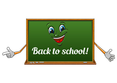 science text: Happy classroom blackboard cartoon character with chalk text Back to school on green surface, for education design Illustration