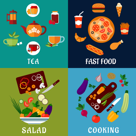 salad: Healthy, fast food and drinks flat icons with salad, fresh vegetables, cups of tea with teapots, fast food menu with pizza, burger, hot dog, chicken leg, french fries, ice cream and soda Illustration