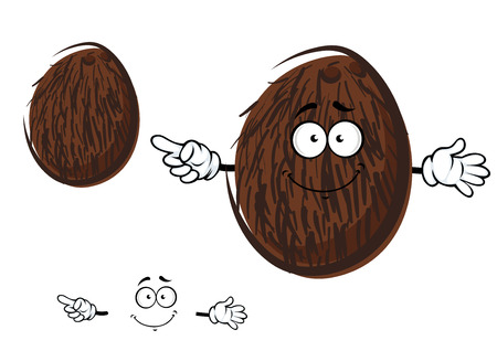 coconut water: Cartoon tropical coconut fruit character with brown coir fibre and cheerful smile, for agriculture or food design