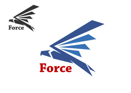 air force: Abstract force symbol with blue silhouette of falcon bird isolated on white background