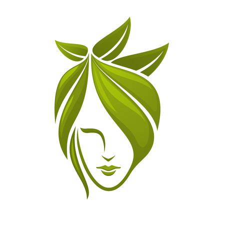 추상 녹색에서 구성 머리를 가진 여자 얼굴 스파, 유기농 화장품, 뷰티 살롱을위한 잎