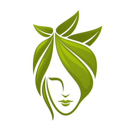 Woman face with hair composed from abstract green leaves for spa, organic cosmetics or beauty salon Çizim
