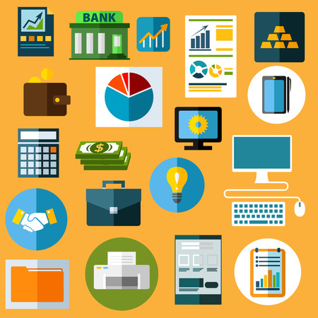 document icon: Business flat icons with dollar bills, handshake, idea light bulb, desktop computer, graphic tablet with pen, gold bars, bank, financial diagrams and bar graphs, wallet, calculator, briefcase, printer Illustration