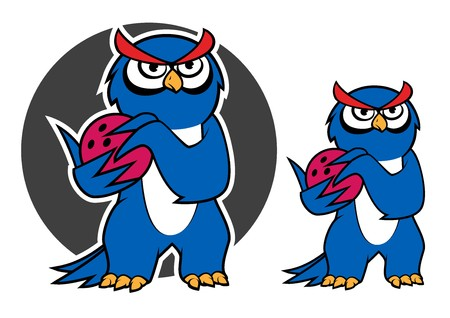owl cartoon: Blue owl bowling player cartoon character with red bowling ball on gray background, for sporting team mascot design